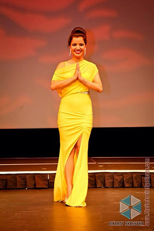 Nabina Basnet at the grand finale of Miss Nepal US 2013 at Queens Theater, NY