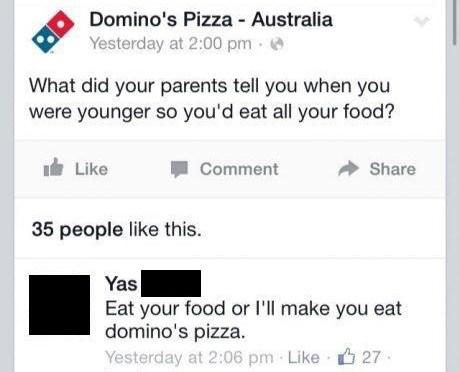 Domino's Pizza Australia Social Media Post Backfires