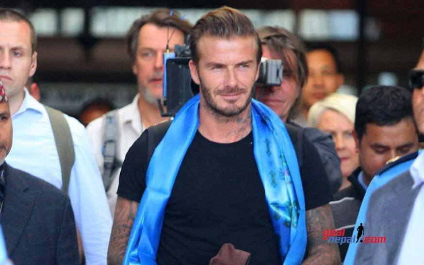 Beckham upon his arrival at Tribhuvan International Airport, Kathmandu.