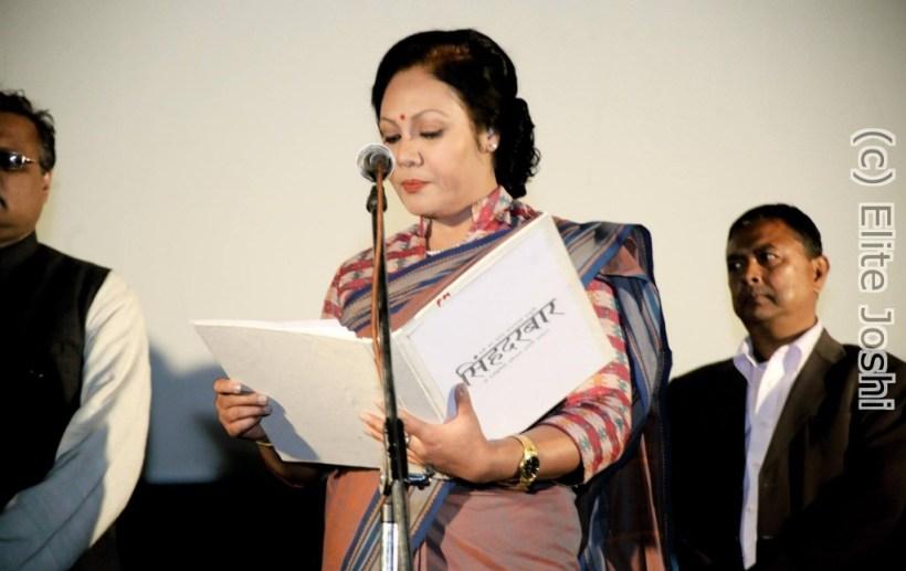 Gauri Malla as Prime Minister Asha Singh taking the oath.