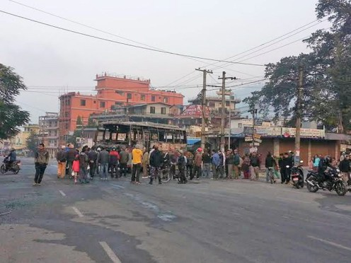 Indian Tourist Bus Burned Down In Pokhara