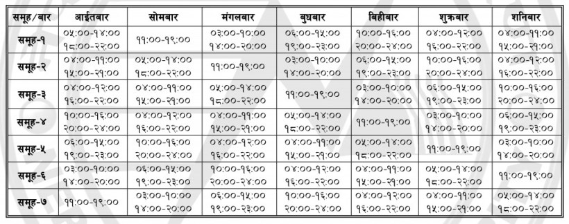 Load shedding Schedule 2016