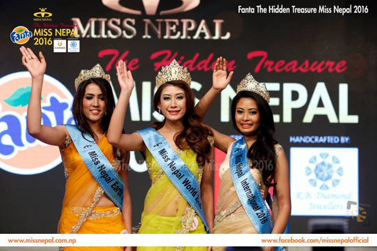 Miss Nepal Asmee Shrestha is flanked by first runner-up Roshni Khatri (left) and second runner-up Barsha Lekhi at Hotel Annapurna in Kathmandu on Friday. Shrestha will represent Nepal in Miss World 2016 while the first and second runners-up will represent the country in Miss Earth and Miss International 2016.