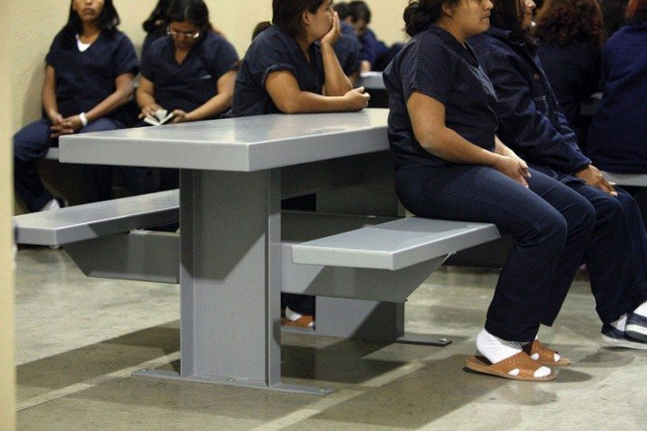 Immigrant female detainees inside their holding cell of the Willacy County Immigration Detention Center in Raymondville.