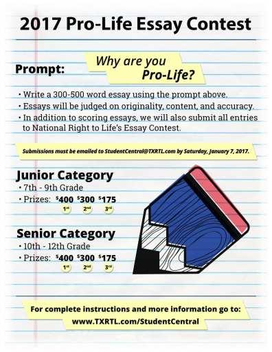 Pro-Life Essay Contest