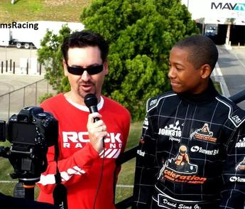 David Sims, Jr during an interview prior to a race.
