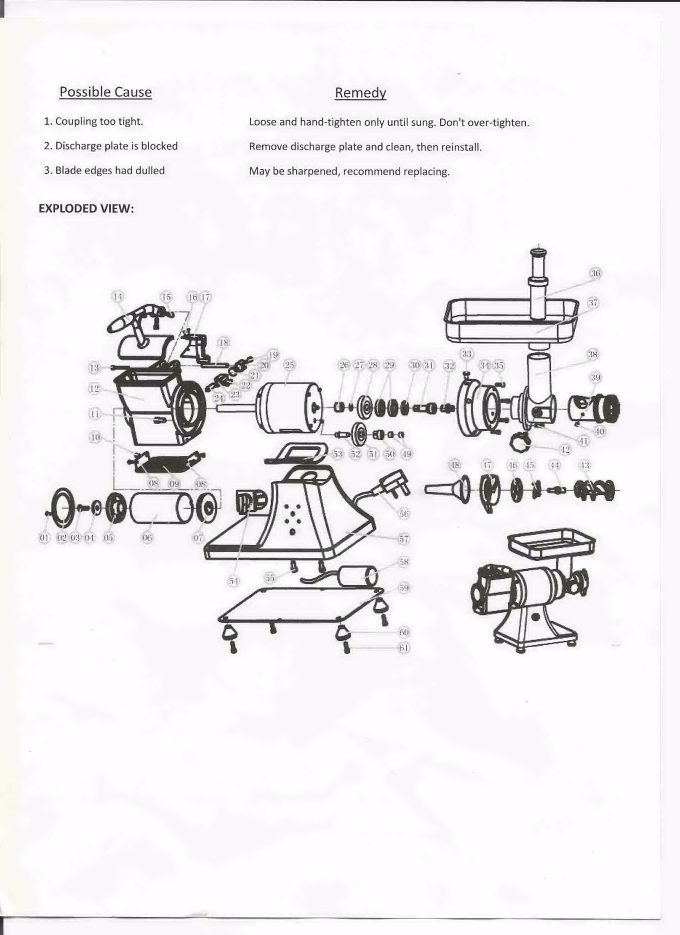 Commercial Meat Grinder & Cheese Grater Manual