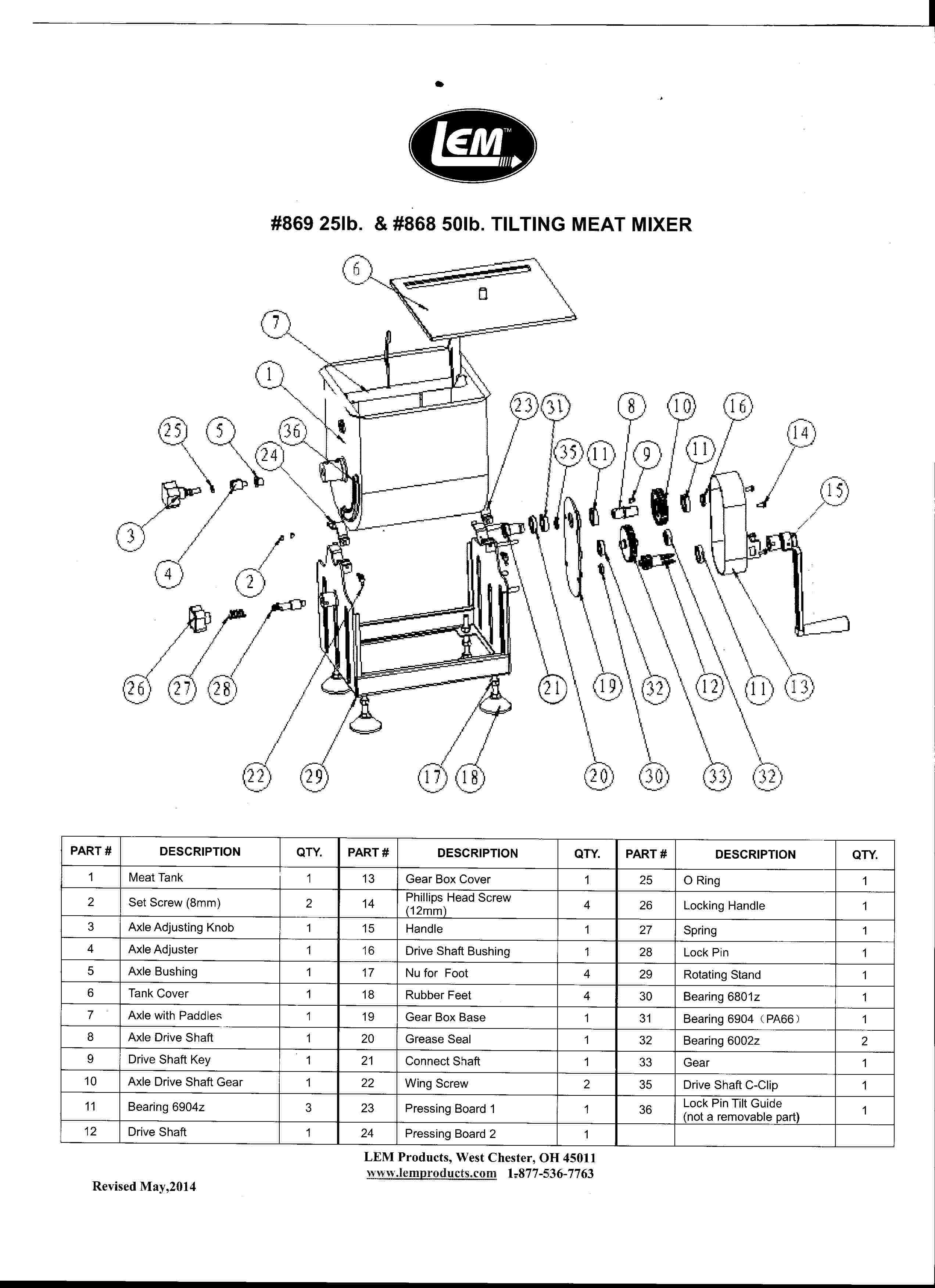 Manual for 50 lb. LEM Meat Mixer