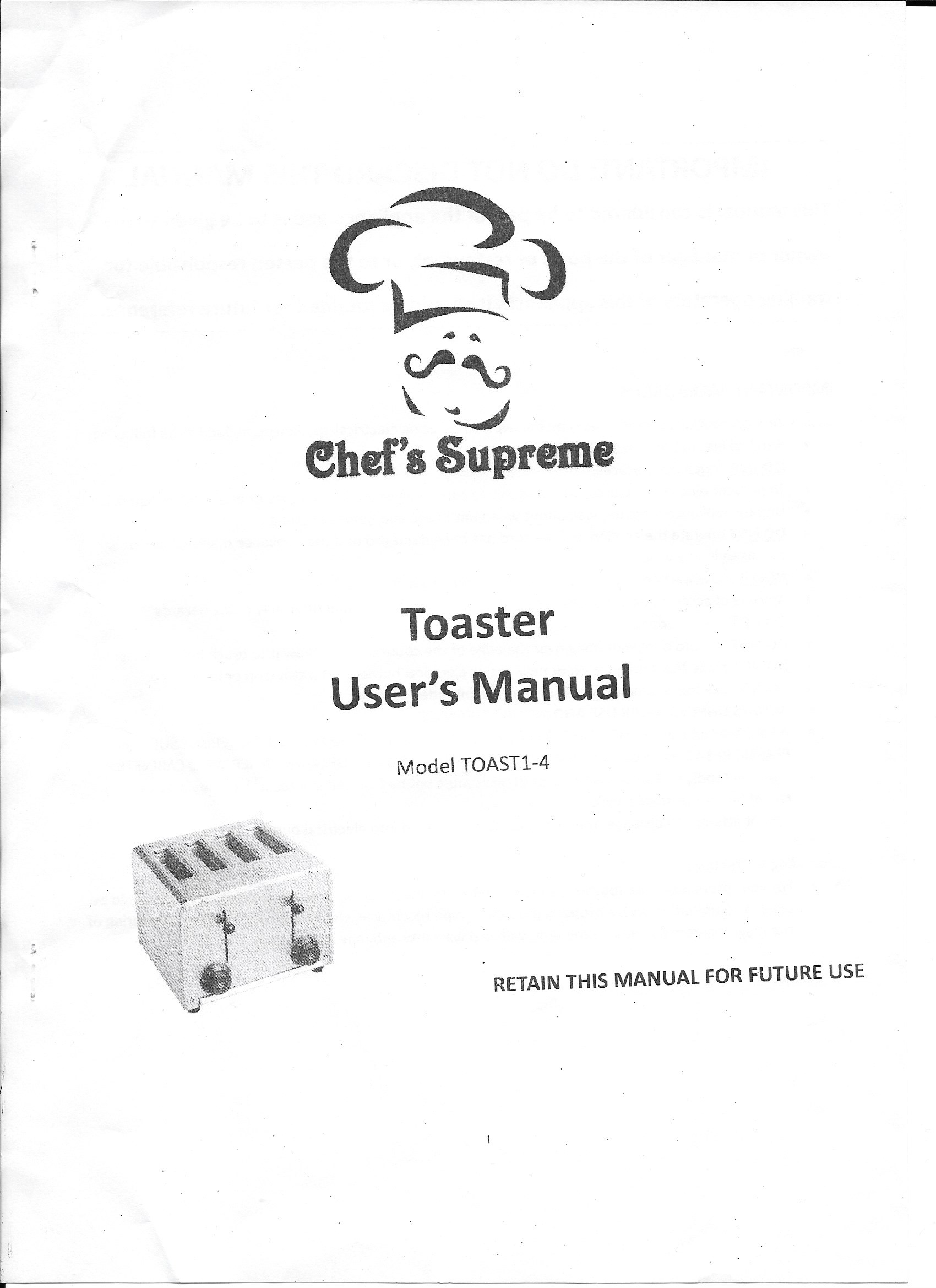 Manual for Toaster