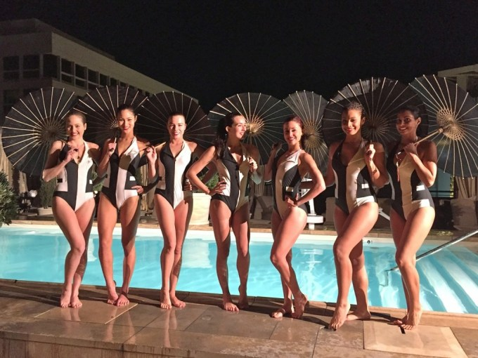 At the Montage Beverly Hills, a performance by The Aqualillies synchronized swimmers.