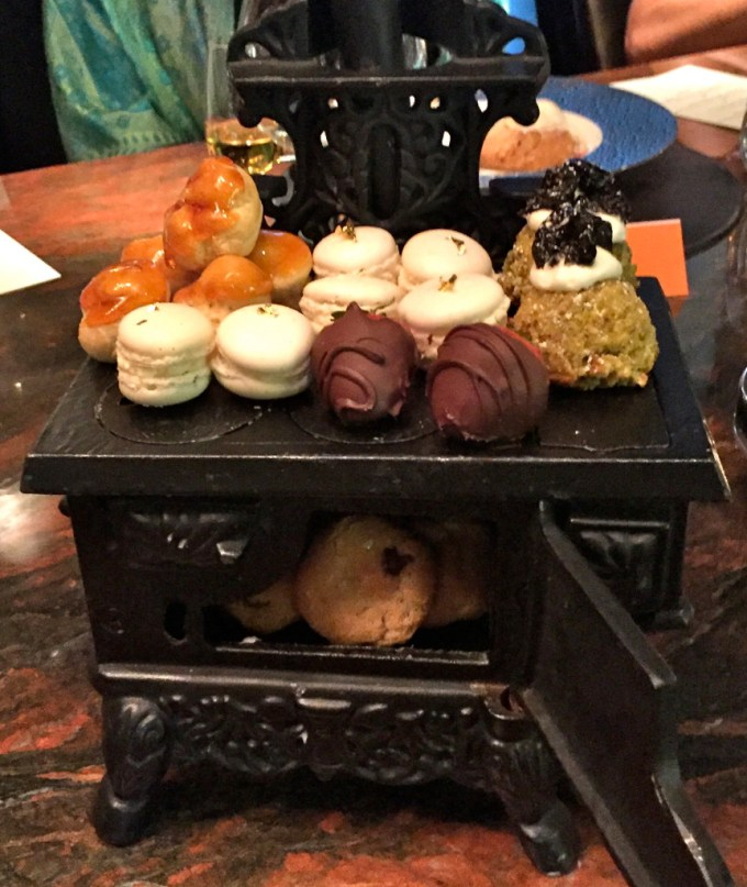 Mignardise served in a mini cast iron stove