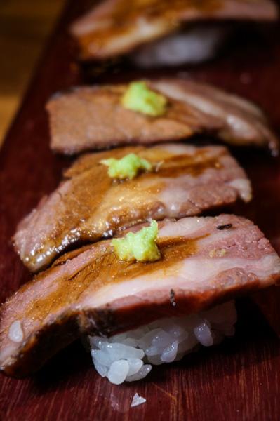 Gyutoro Nigiri, 72-hour Wagyu short rib nigiri.
