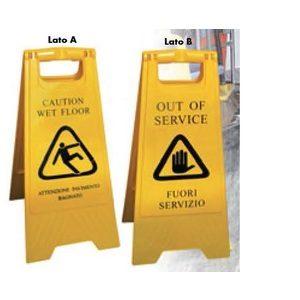 Cartello cavalletto Attenzione pavimento bagnato Fuori servizio