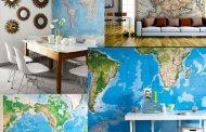 Ιδέες με χάρτες ταπετσαρία στην εσωτερική διακόσμηση
