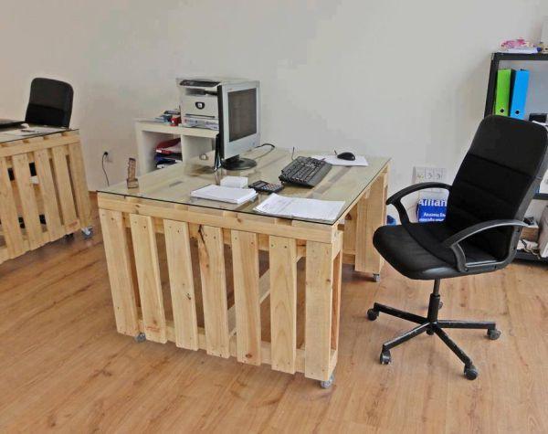 DIY γραφεία από παλέτες6