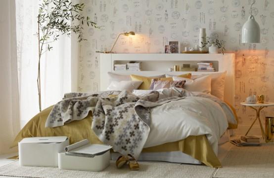 Κομψός Σχεδιασμός Υπνοδωμάτιου με Χρυσό και Λευκό