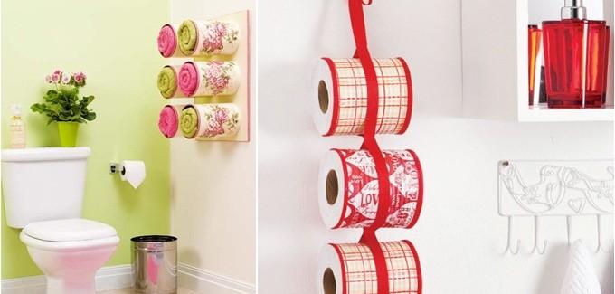 Ιδέες οργάνωσης μπάνιου - αποθήκευση πετσετών σε decoupaged δοχεία