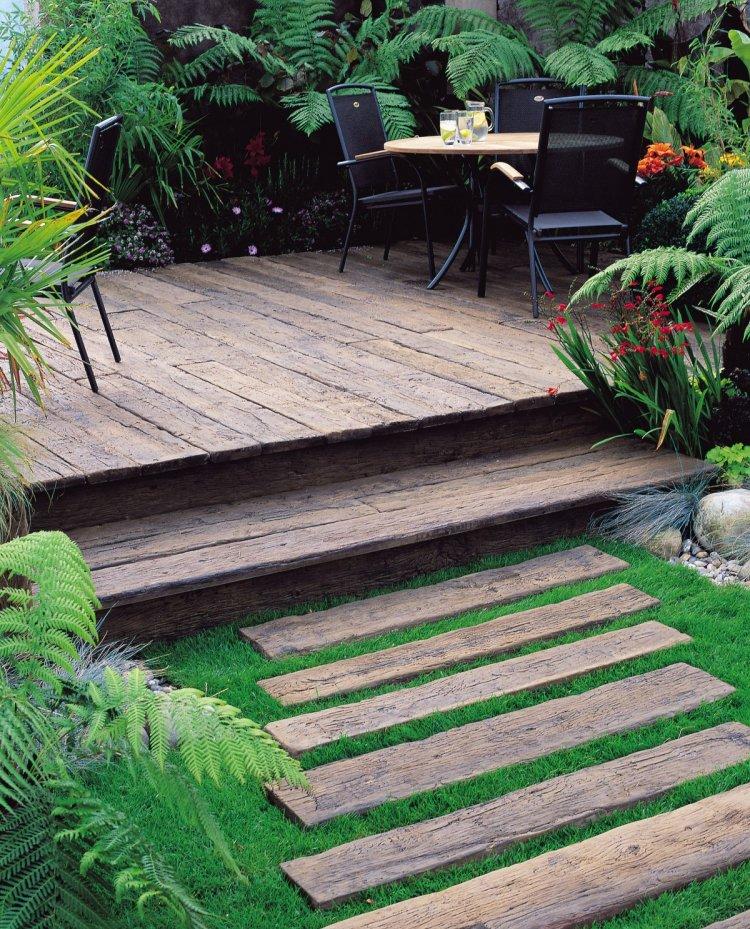 ιδέες με ξύλινα μονοπάτια κήπου13