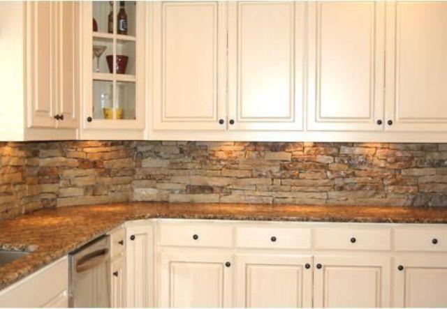 ιδέες με πέτρες, τούβλα και βότσαλα για τοίχους κουζίνας28