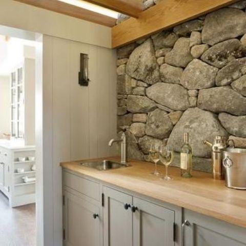 ιδέες με πέτρες, τούβλα και βότσαλα για τοίχους κουζίνας9