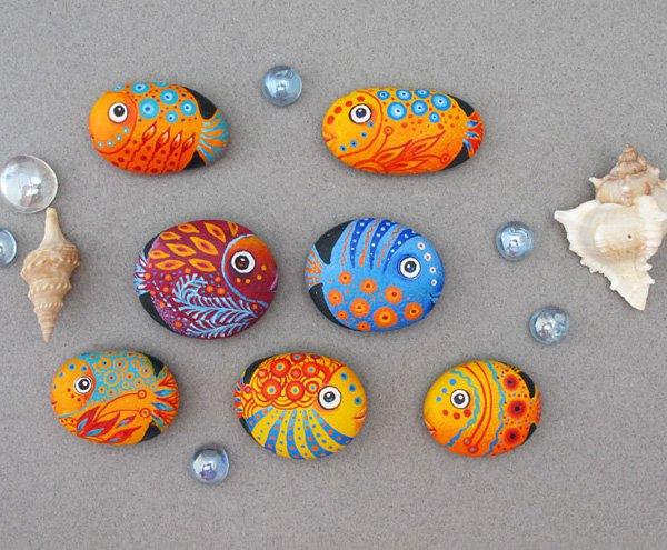 DIY ιδέες διακόσμησης με βαμμένες πέτρες και βότσαλα9