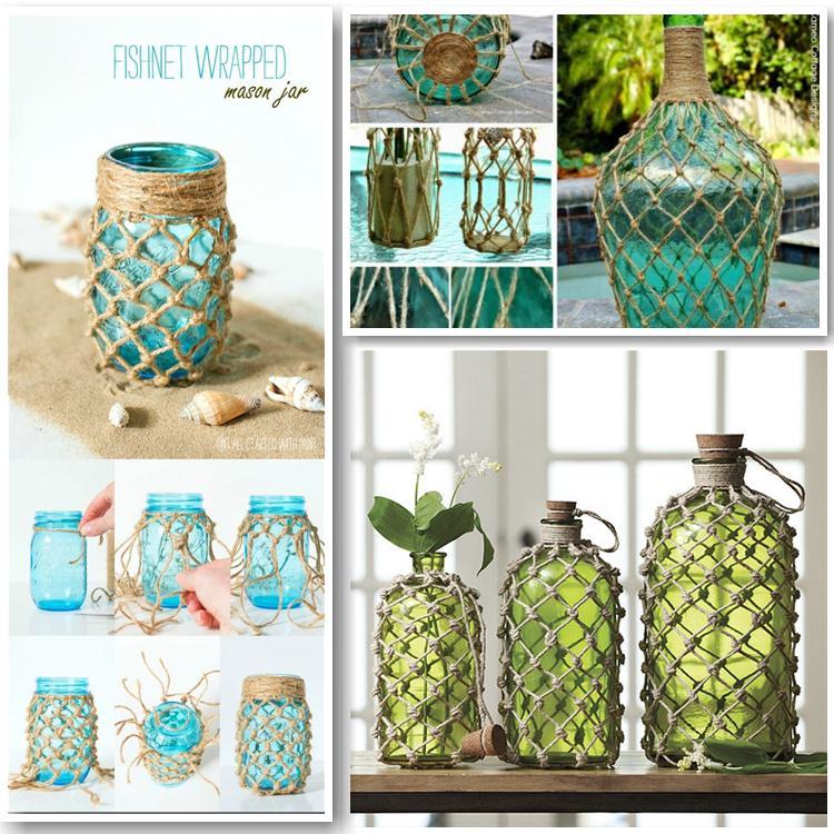 Εύκολες diy ιδέες διακόσμησης με κόμπους από σπάγκο σε μπουκάλια και φαναράκια