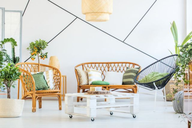 81946426 - trendy living room with modern furniture, plants and decorative tape on the wall