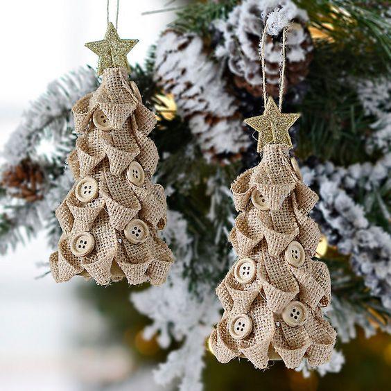 Χριστουγεννιάτικα στολίδια από λινάτσα35