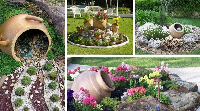 Όμορφη διακόσμηση στην αυλή και τον κήπο με πέτρες και πυθάρια