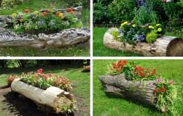 Απίστευτα όμορφες DIY ιδέες με παρτέρια από κορμούς δέντρου - πρωτότυπη διακόσμηση για τον κήπο σας