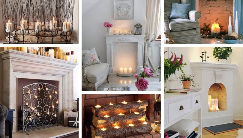30+ Αξιολάτρευτες και ζεστές DIY διακοσμήσεις  με κεριά για το άδειο τζάκι σας