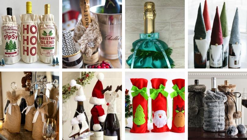 Εντυπωσιακά DIY αξεσουάρ για να διακοσμήσετε ένα μπουκάλι σαμπάνια ή το κρασί σας για τα Χριστούγεννα και το νέο έτος