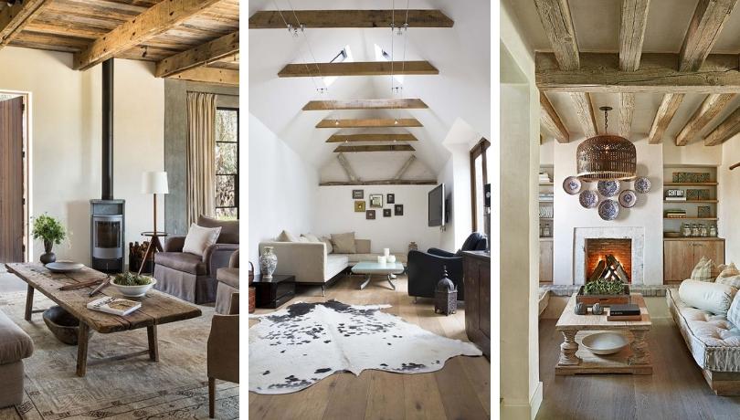 Θεαματικά και άνετα σαλόνια με ξύλινα δοκάρια οροφής: 25 μοντέρνες ιδέες, έμπνευσης