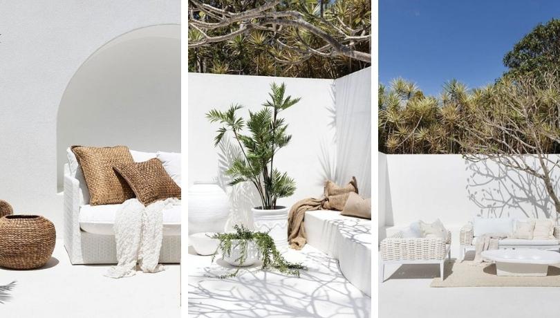 Ονειρικός σχεδιασμός βεράντας, αυλής, αίθριου στην απλότητα του λαμπρού καλοκαιρινού λευκού