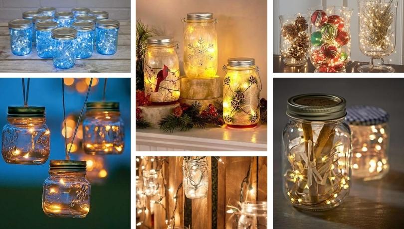 Μαγευτικές DIY ιδέες από γυάλινα βάζα με λαμπιόνια για τα Χριστούγεννα