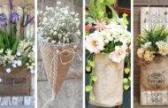 20 Πανέμορφες κρεμαστές διακοσμήσεις με λινάτσα και λουλούδια