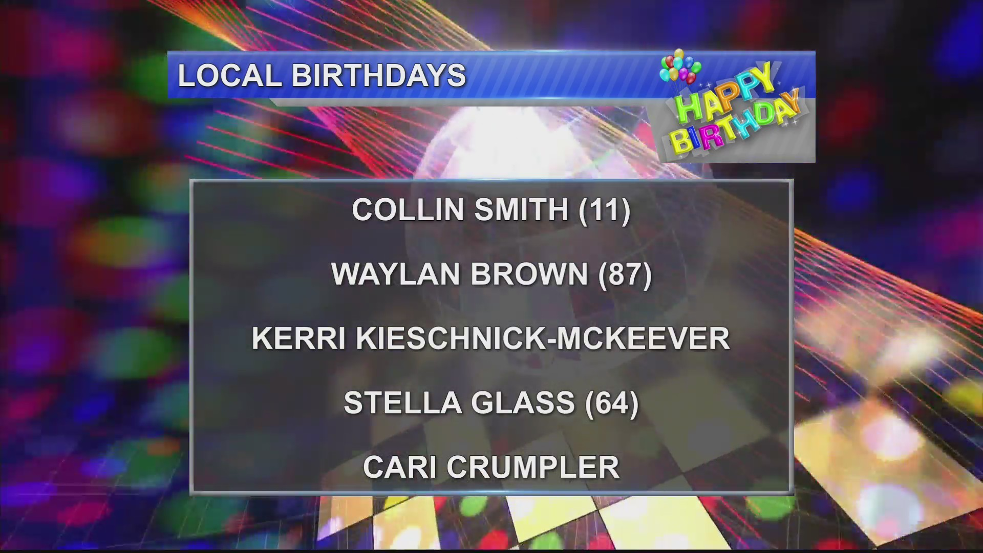 Birthdays & Anniversaries 11/9/18