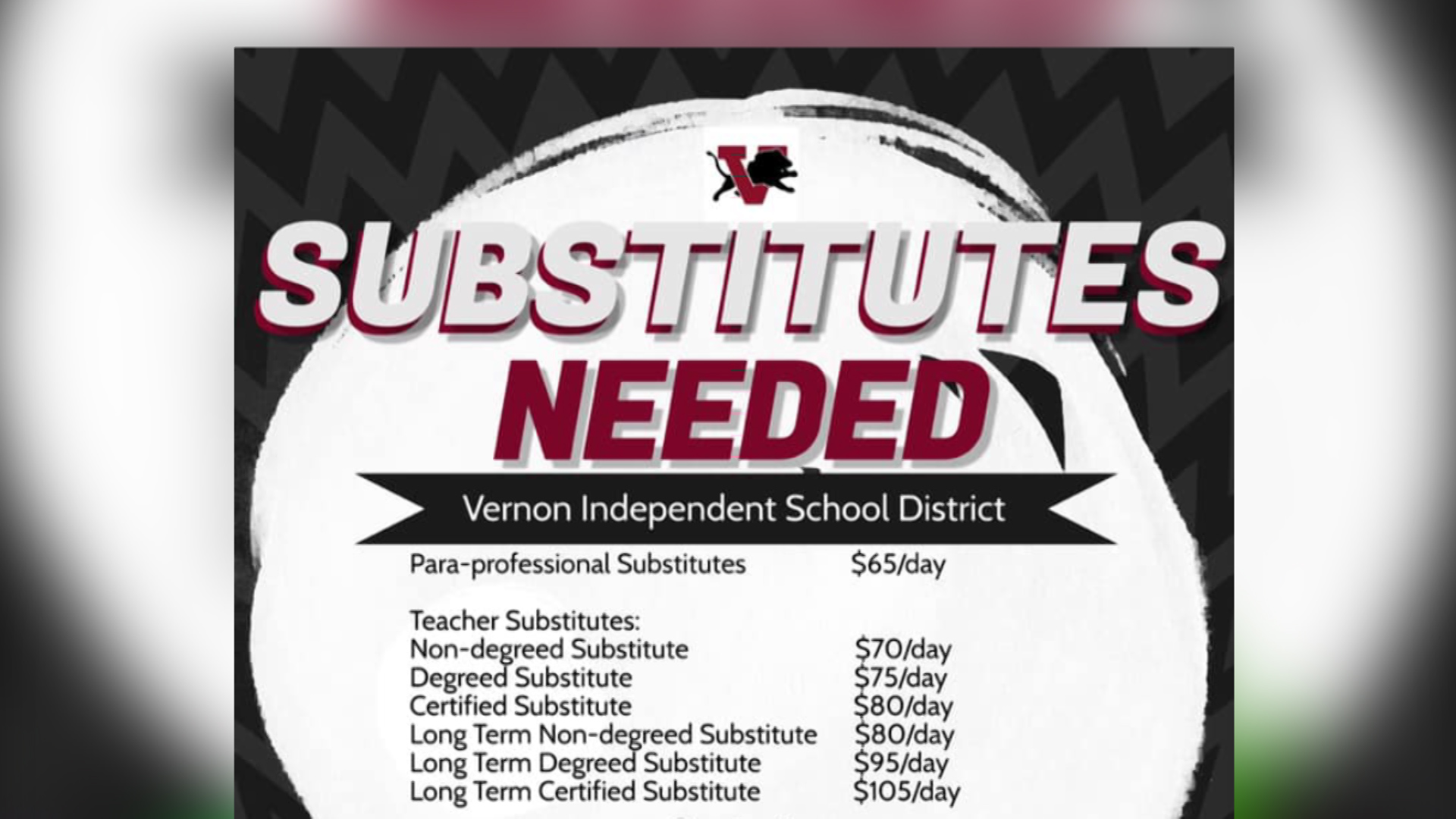 Vernon school officials are reaching out to the community for help with a shortage of substitute teachers.