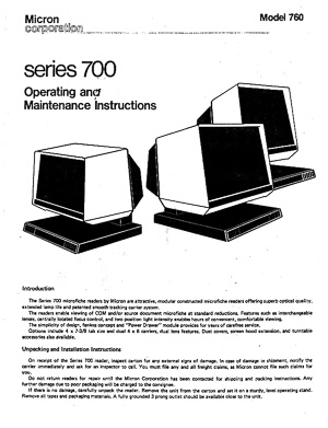 Micron Series 700 Microfiche Reader Operating amd