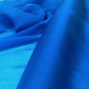 Voal chiffon de matase naturala bleu-turcoaz