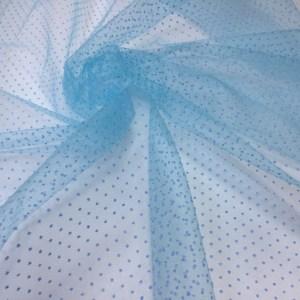 Tulle bleu-turquoise cu buline