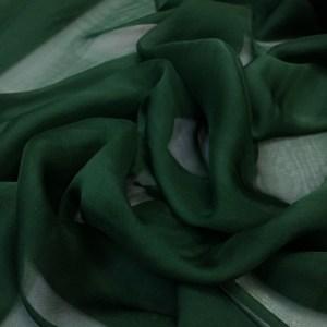 Voal chiffon de matase naturala verde inchis