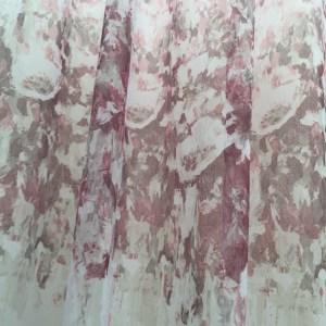 Perdea bordura flori burgundy