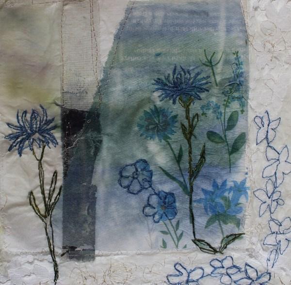 Textile Artist Cas Holmes Handkerchief Cornflower