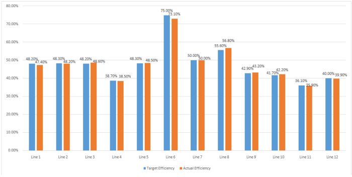Sewing Line Efficiency Report (Day 5)