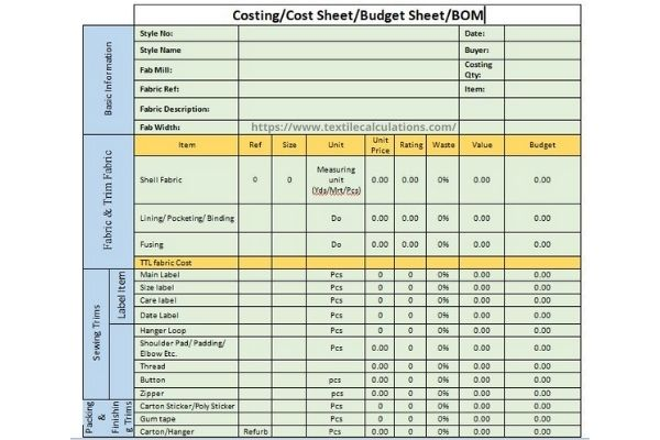 How to Prepare Costing Sheet for Woven Garments