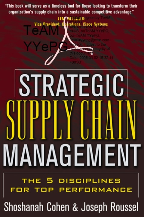 Strategic supply chain management_ the five disciplines for top performance