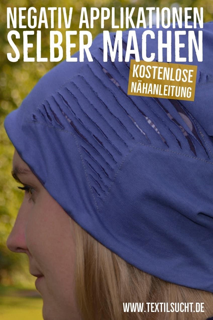 Nähanleitung: Wie näht man eine negative Applikation? - Pinterest Grafik - Textilsucht.de