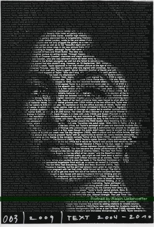 Elizabeth Taylor, Ralph Ueltzhoeffer Textportrait