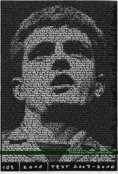 Ian Curtis, Ralph Ueltzhoeffer Textportrait